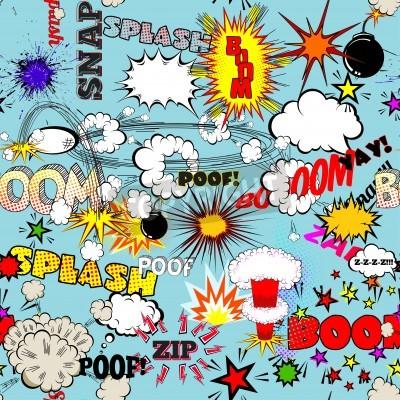 Affisch Vector Retro Seamless Comic Speech Bubbles, etiketter, logotyper och Comic Book Words