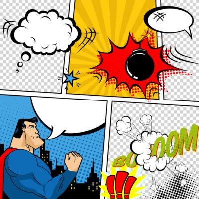 Affisch Vector Retro Serietidning Speech Bubbles illustrationen.