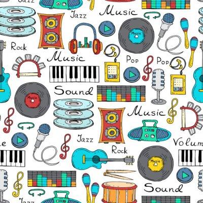 Affisch Vector Seamless handritade symboler för musik