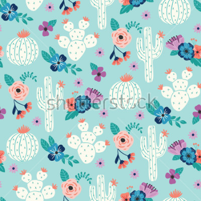 Affisch Vector seamless pattern with hand drawn cactus and floral bouquets on a blue background