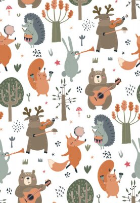 Affisch Vector seamless pattern with hand drawn wild forest animals with musical instruments.