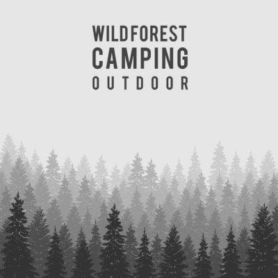 Affisch Vector vilda barrskogs bakgrund. Utomhus camping mall