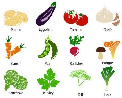 Affisch Vegetabiliska ikoner med titeln