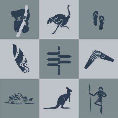Affisch Vektor australien platt resor svart