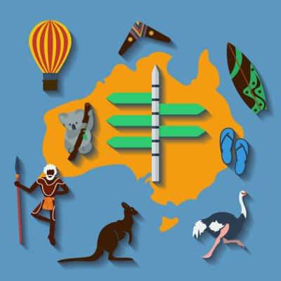 Affisch Vektor australien resa flat färg