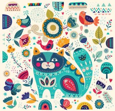 Affisch Vektor färgrik illustration med vackra katt, fjärilar, fåglar och blommor