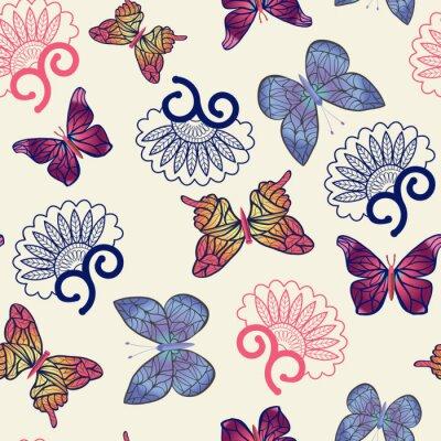 Affisch Vektor fjärilar mönster.