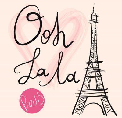 Affisch Vektor handritad illustration med Eiffeltornet