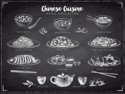Affisch Vektor handritad illustration med kinesisk mat.
