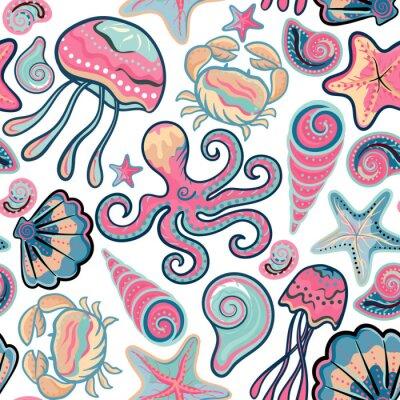 Affisch Vektor handritad seamless med maneter, snäckor, sjöstjärnor, bläckfisk och krabbor. Ocean bakgrund