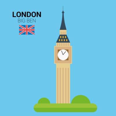 Affisch Vektor illustration av Big Ben (London, Storbritannien). Monument och landmärken samling. EPS 10 fil kompatibla och redigerbara.