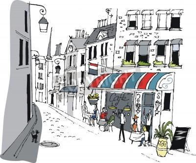 Affisch Vektor illustration av cafe i Paris, Frankrike.