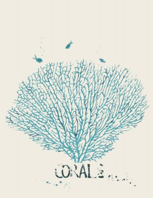 Affisch Vektor illustration av en fläkt korall