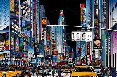 Affisch Vektor Illustration av en gata i New York City på natten