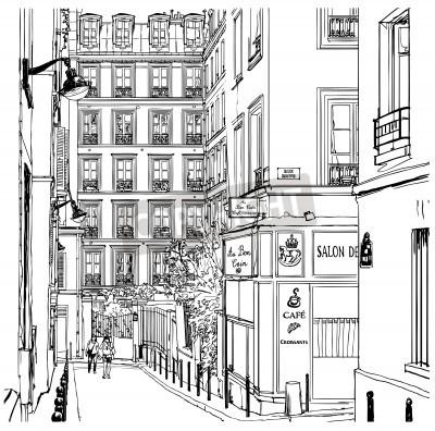Affisch Vektor illustration av en gata nära Montmartre i Paris