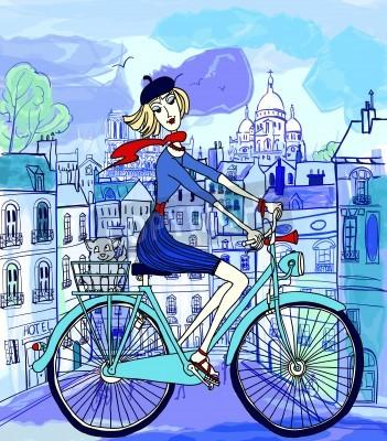 Affisch vektor illustration av en ung kvinna på en cykel i Paris