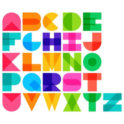 Affisch Vektor illustration av färg font