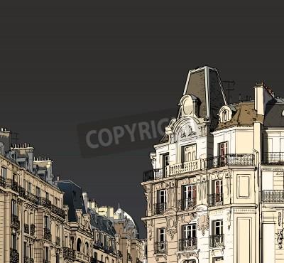Affisch Vektor illustration av fasader i Paris i ett stormigt väder