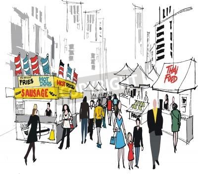 Affisch Vektor illustration av gatumarknad, New York.
