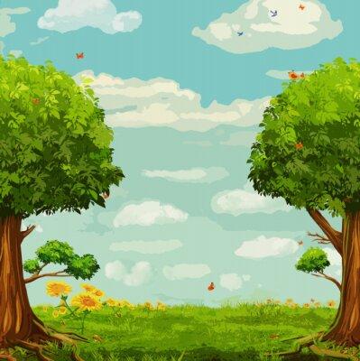 Affisch Vektor illustration av vacker skog scen med träd och himmel