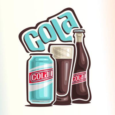 Affisch Vektor illustration på temat av logotypen för cola, bestående av burk med cola, glas kopp fylld med cola och sluten glasflaska av cola