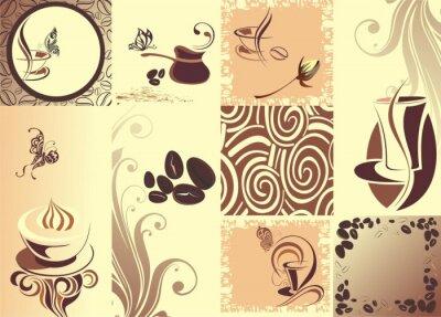 Affisch Vektor kaffe backgroundwith fjäril