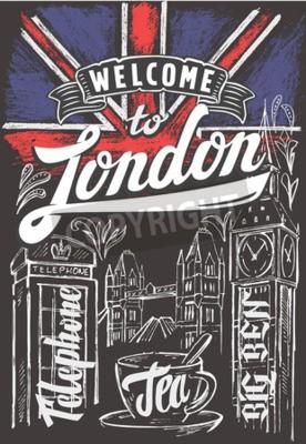 Affisch Vektor krita storbritannien flagga och london