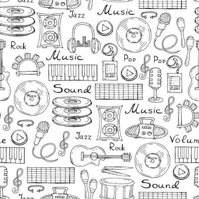 Affisch Vektor mönster med handritad symboler för musik på vit färg
