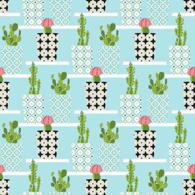 Affisch Vektor mönster med kaktusar. Söta kaktusblommor i prydnads krukor. Hand ritning illustration.