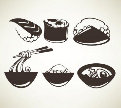 Affisch vektor samling av japansk mat symboler