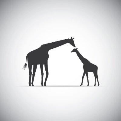 Affisch Vektor silhuett av mamma giraff med sitt barn
