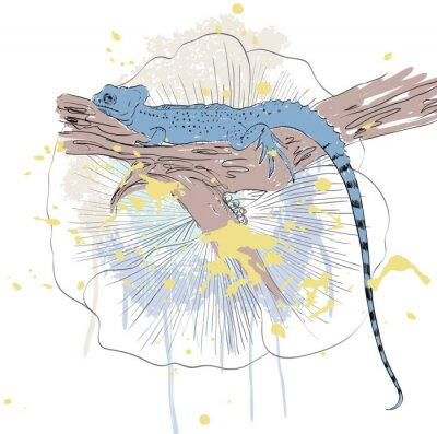 Affisch vektor skiss av ödla med söta blommor