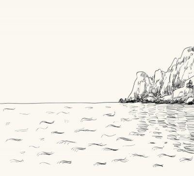 Affisch Vektor sommar marinmålning skiss. Seaside och bergs