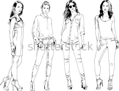 Affisch Vektor teckningar på temat vacker slank sportig tjej i vardagliga kläder i olika poserar målade bläck hand skiss utan bakgrund
