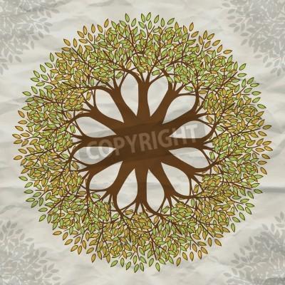 Affisch Vektor träd mandala bakgrund med grunge papper