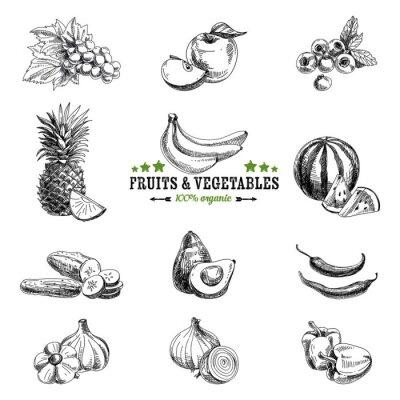 Affisch Vektor uppsättning av frukt och grönsaker.