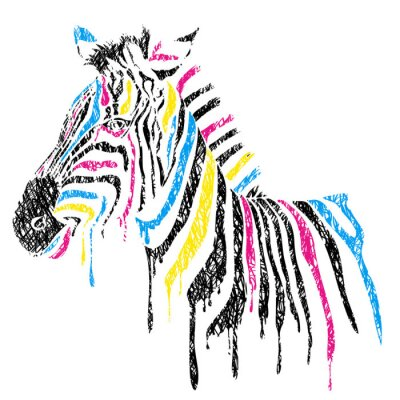 Affisch Vektor zebra med färgade ränder, skiss stil