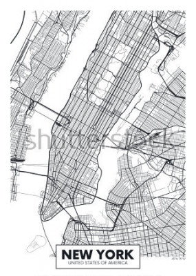 Affisch Vektoraffisch karta New York