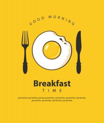 Affisch Vektorbaner på temat frukosttid med stekt ägg, gaffel och kniv på den gula bakgrunden med plats för text i retrostil