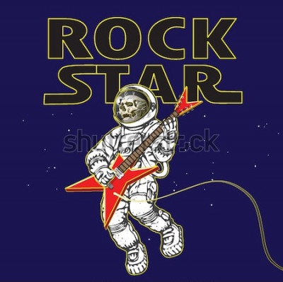 Affisch vektorbild av en astronaut i bilden av en rockmusiker i rymden i stil med tecknad grafik