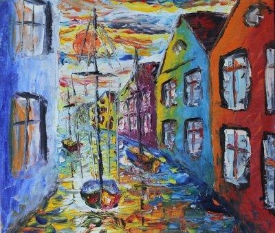 Affisch Venedig båten flytande på gatorna, oljemålning