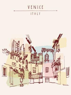 Affisch Venedig Italien Europa vintage handritad vykort