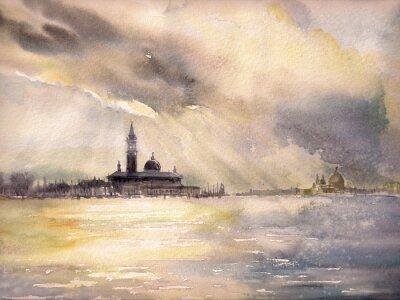 Affisch Venedig, Italien på sunset.Picture skapas med vattenfärger.