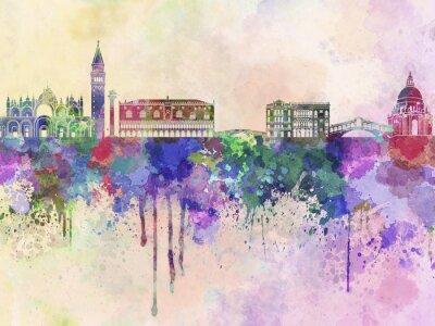 Affisch Venedig skyline i vattenfärg bakgrund