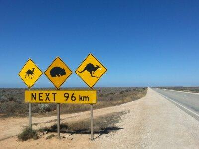 Affisch Verkehrsschild nästa 96 km im Outback, Australien