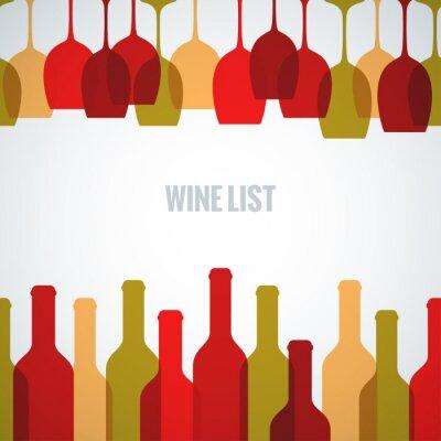 Affisch vin glasflaska konstbakgrund