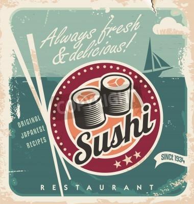 Affisch Vintage affisch för japansk restaurang. Retro vektor bakgrund med sushi rullar.