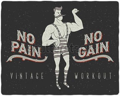 Affisch Vintage affisch med cirkus stark man och slogan: