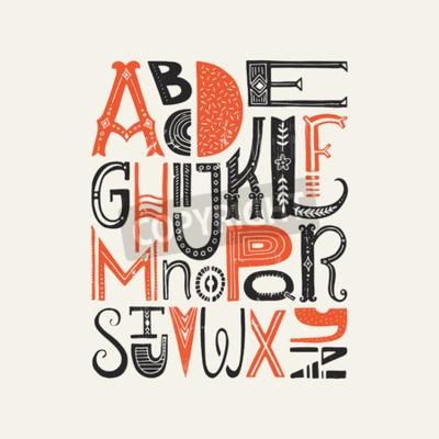 Affisch Vintage affisch med unika latinska alfabetet bokstäver. Vector typsnitt eller typografidesign.