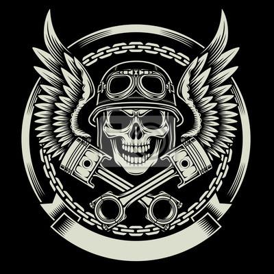 Affisch Vintage Biker skallen med vingar och pistonger Emblem